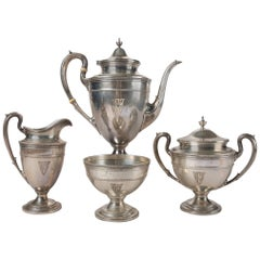 English Georgian Gorham Edgeworth Sterling Silver Four-Piece Tea Set