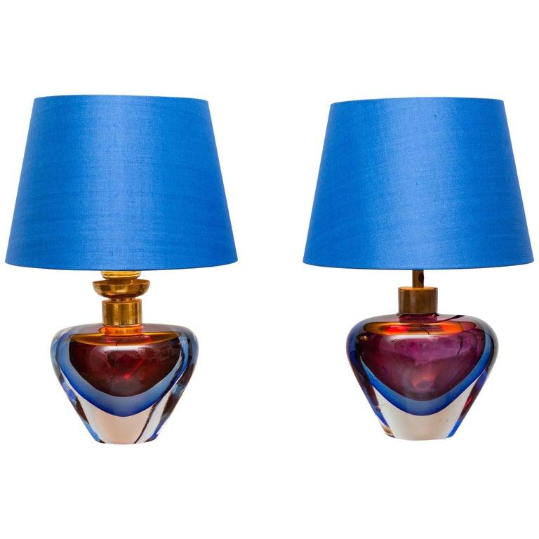 Pair of Table Lamps by Flavio Poli by Vetri d' Arte Seguso, Italy, circa 1950
