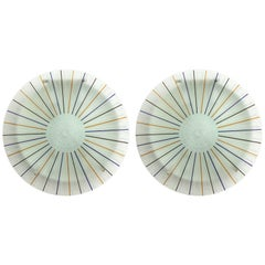 Pair of Modern Glass and Painted Glass Round Sconces Made in Italy by Poliarte