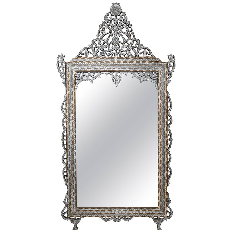 Superb 1900s Syrian Mother Of Pearl Mirror For