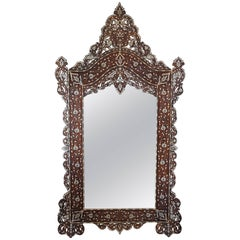 Gorgeous 1900s Syrian Mirror Inlaid with Mother-of-Pearl and Camel Bone