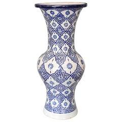 Exotic Moroccan Blue Ceramic Vase