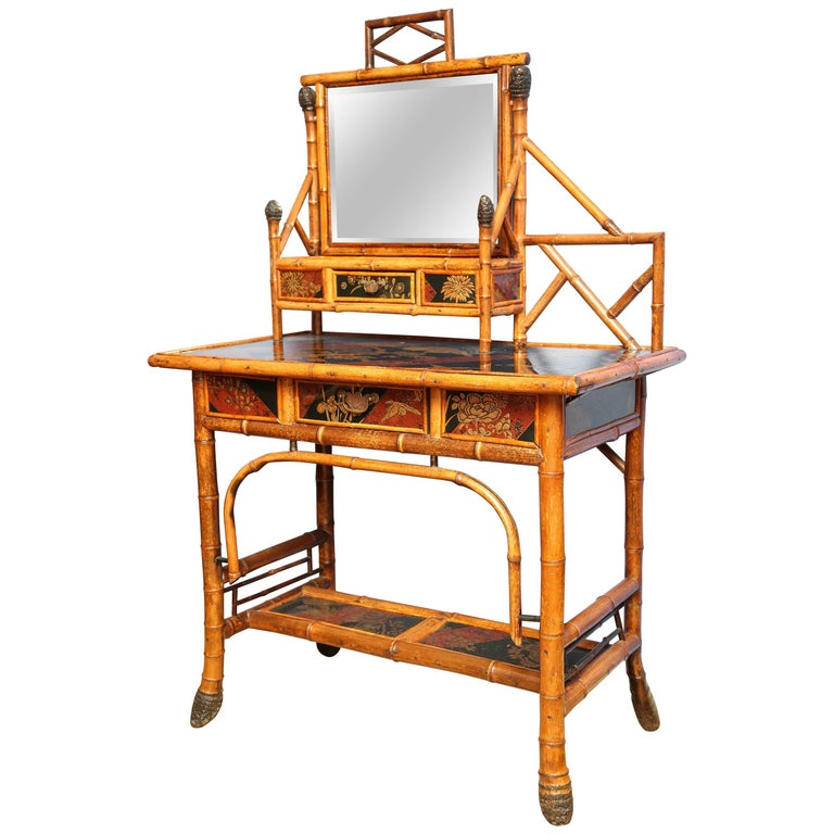 Superb 19th Century English Bamboo Vanity Desk with Mirror