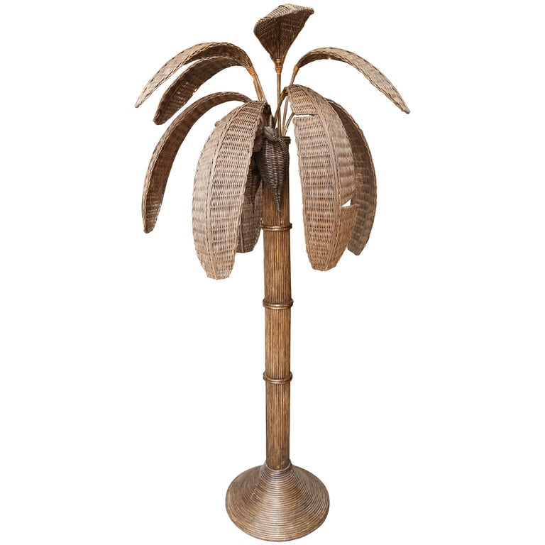 Exotic Vintage Pencil Bamboo and Rattan Banana Tree Floor Lamp For Sale