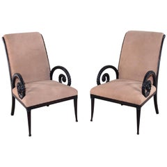 Pair of Ebonized Scrolled Armchairs by Grosfeld House, circa 1960s