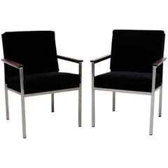 Pair of Gispen Black Velvet Armchairs by A.R. Cordemeyer