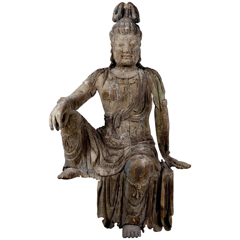"Monumental ""Bigger Than Life Size"" Wooden Bodhisattva"