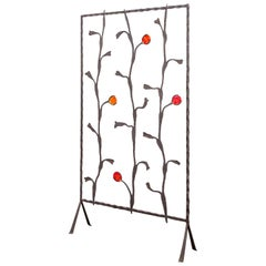 Decorative Mid-Century Modern Artisan Iron and Glass Screen