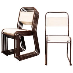 Set of Six Stacking Metal and New Canvas Chairs