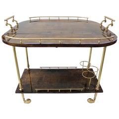 Aldo Tura Goatskin and Brass Bar Cart (Pair Available)