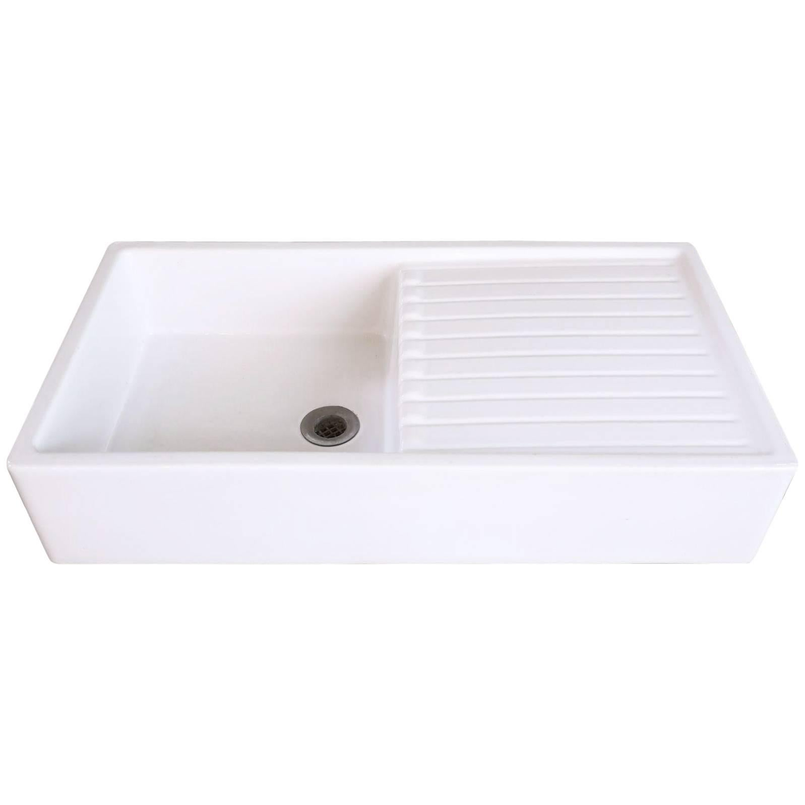 Large Porcelain Vintage Farm Sink With Drainage Board From Warneton, Circa  1920