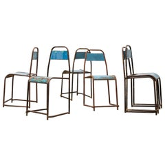 Industrial Blue Enameled Sheet Metal Stacking Garden Chairs