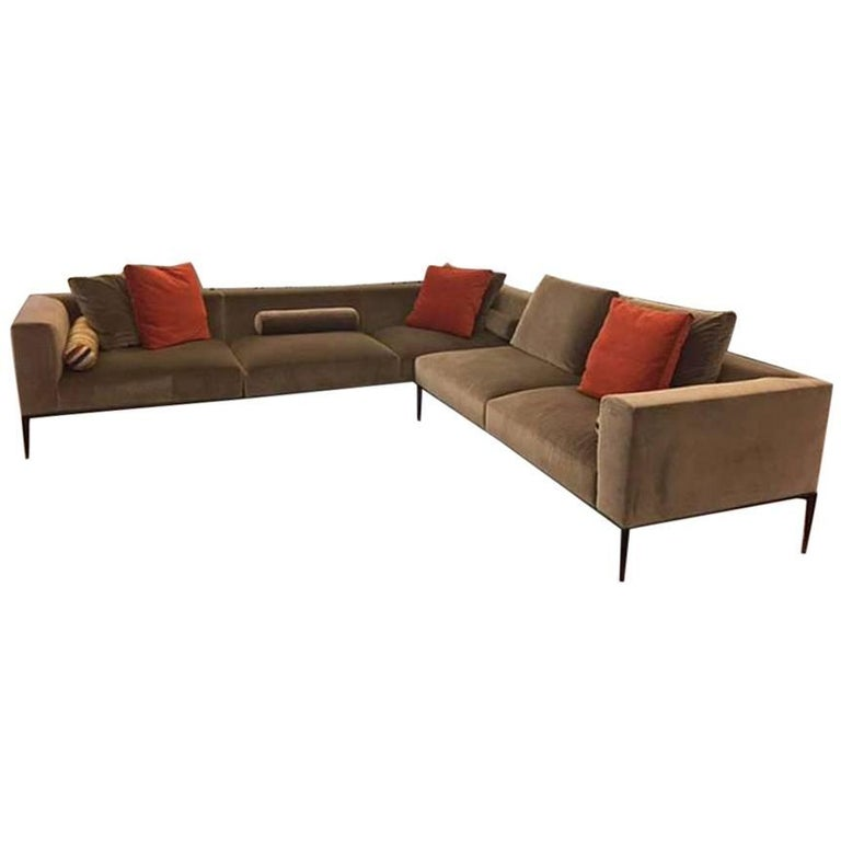Modern Sectional Sofa In Taupe Velvet By Eoos For