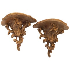 Old World Charming Pair of Giltwood Brackets