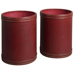 Pair of Mid-20th Century Moroccan Red Leather Paper Baskets