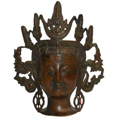 Vintage Thai Bronze Buddha Head from India