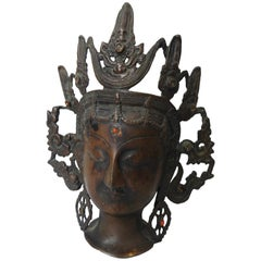 Thai Bronze Buddha Head from India, Vintage