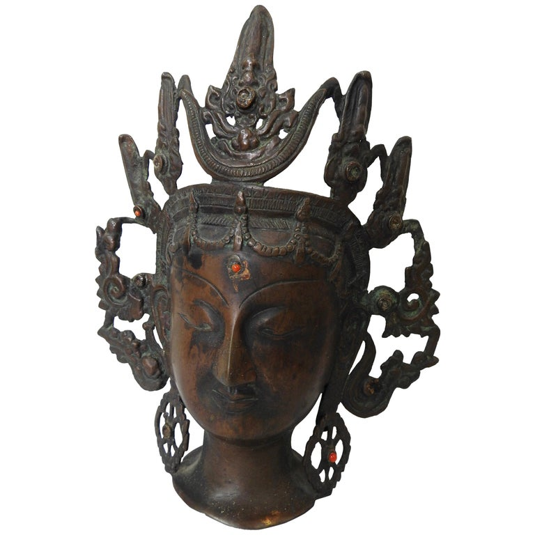 Thai Bronze Buddha Head from India, Vintage For Sale