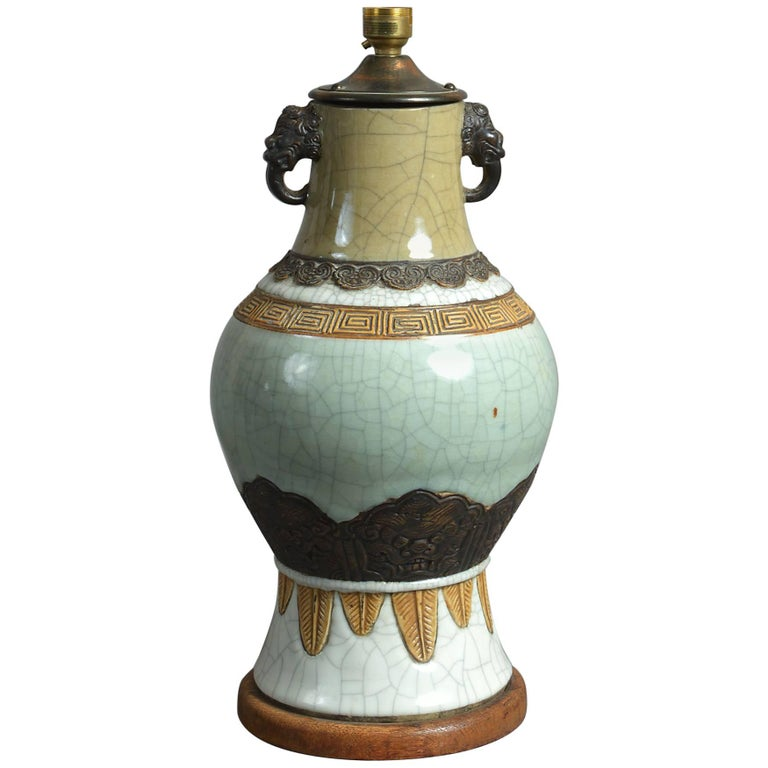 19th Century Crackle Glaze Vase as a Lamp