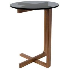 Peasant Contemporary Side Table with Walnut Frame and Glass Top