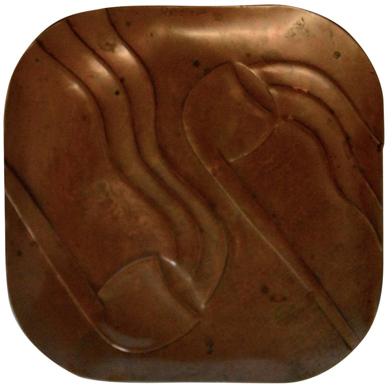 Francisco Rebajes Copper Pipe Plate, Signed, Midcentury For Sale 1