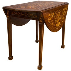Late 18th Century Dutch Marquetry Inlaid Walnut Drop-Leaf Table