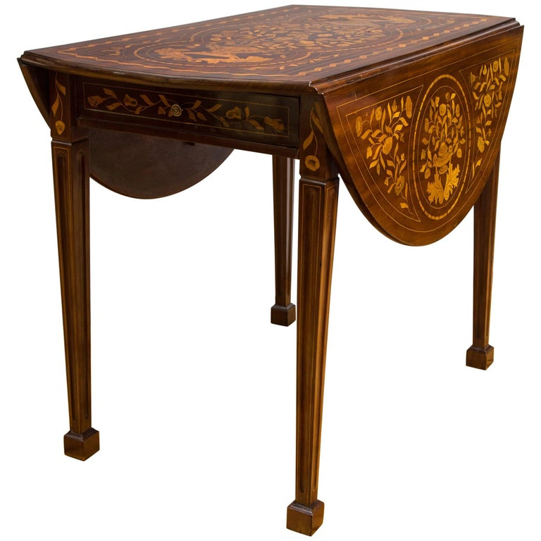 Late 18th Century Dutch Marquetry Inlaid Walnut Drop-Leaf Table For Sale