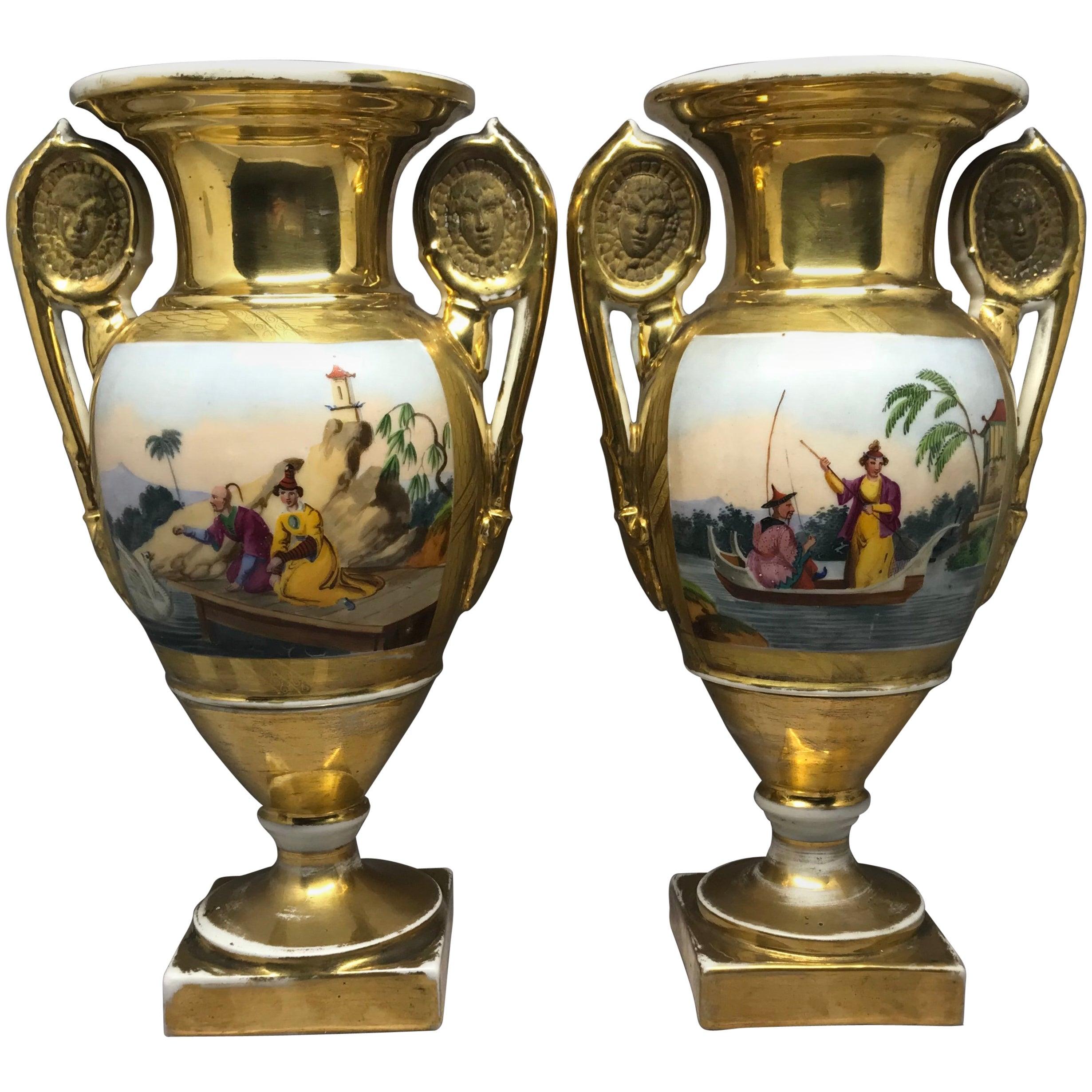 Pair of Empire Gilt Chinoiserie Vases