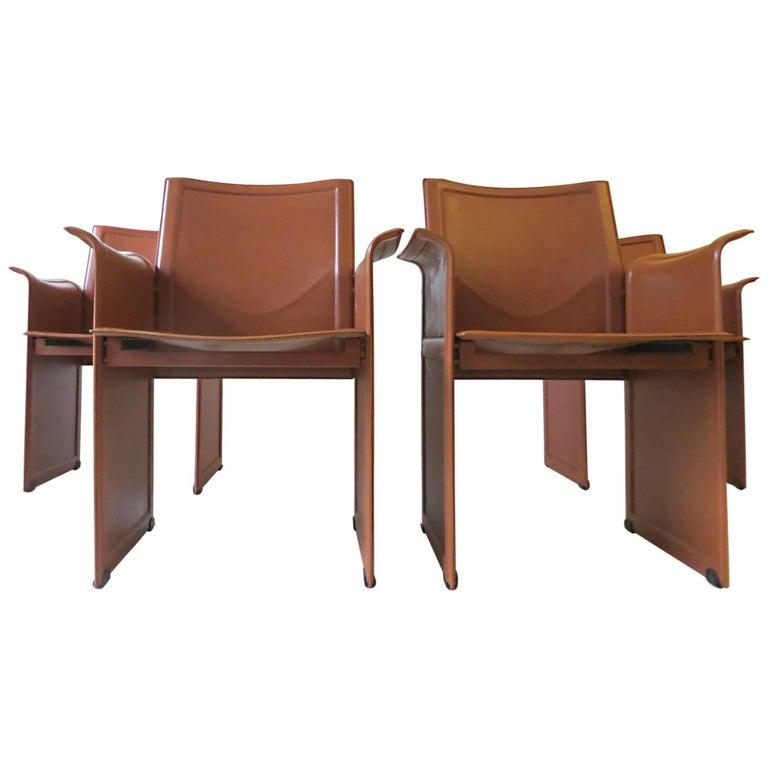 Four Italian 1970s Korium Chairs by Tito Agnoli for Matteo Grassi