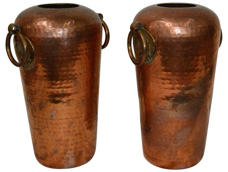 Pair Of Hammered Copper Vases With Egyptian Details For Sale At 1stdibs