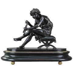 Bronze Young Shepherd Playing the Flute by Jules Salmson 'French, 1823-1902'