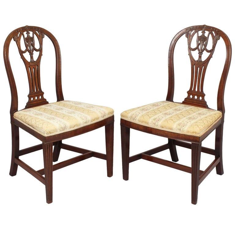 Pair of George III Period Mahogany Side-Chairs in the Hepplewhite Manner