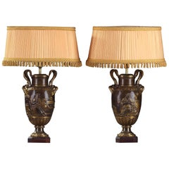 19th Century Pair of Bronze Vases by Ferdinand Barbedienne