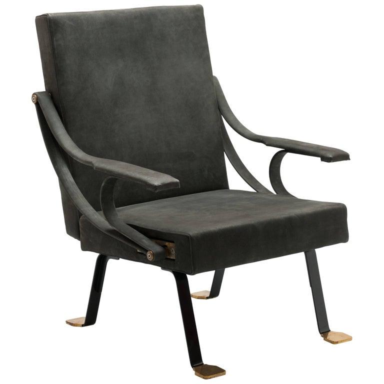 Brass Feet Digamma Recliner Armchair by Ignazio Gardella