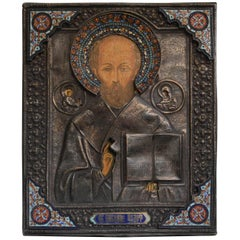 19th Century Enameled Russian Sterling Silver Icon