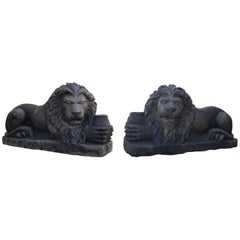 Pair of Antique Limestone Lions, circa 1850