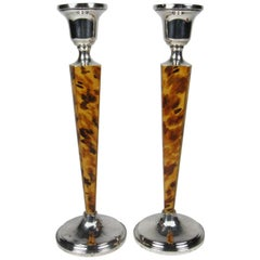Pair of Revere Silversmiths Sterling Silver and Faux Tortoiseshell Candlesticks