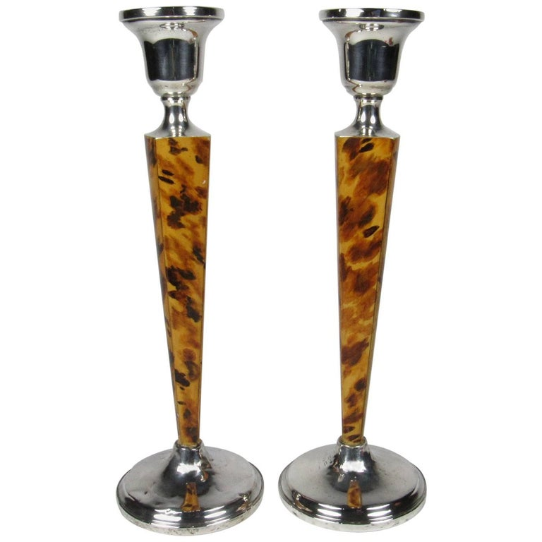 Pair Of Revere Silversmiths Sterling Silver And Faux