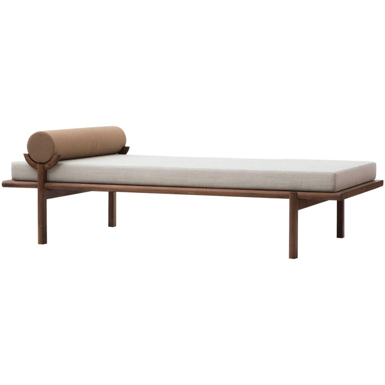 Walnut Crescent Lounge or Chaise Longue by Vonnegut Kraft For Sale