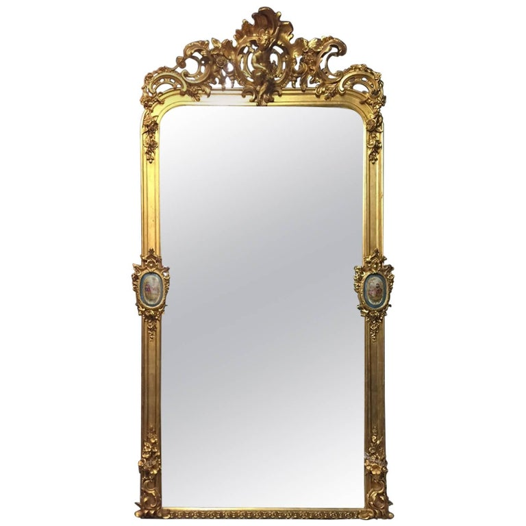 French Gilt Mirror with Sèvres Porcelain Plaques, 19th Century