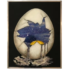 Dimensional Artwork of an Egg Holding a Universe by Geiger