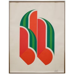 Graphic Futurist Style Watermelon Lithograph