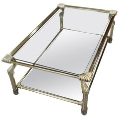 Brass-Framed Coffee Table with Glass and Mirror Inlay by Muebles Curvasa