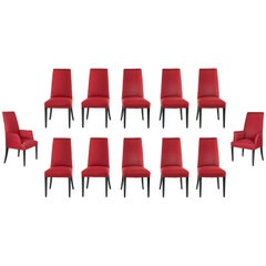 Set of 12 Red Dining Chairs