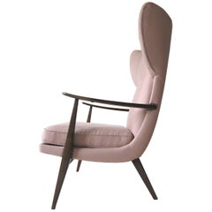 1950s Knoll Antimott Wingback Chair by Walter Knoll in Fine Old Rose