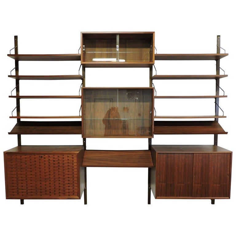 Poul Cadovius Midcentury Danish Modern Walnut Cado Royal Modular Wall Unit For Sale
