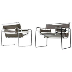 Pair of Vintage Leather and Chrome Marcel Breuer Style Wassily Chairs