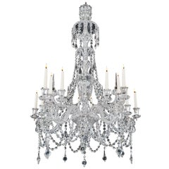 Unusual 15-Light Cut Glass Antique Chandelier by F&C Osler