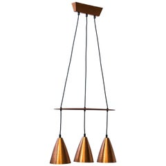 Scandinavian Modern Ceiling Lamp in Copper & Teak by Hans-Agne Jakobsson, Sweden