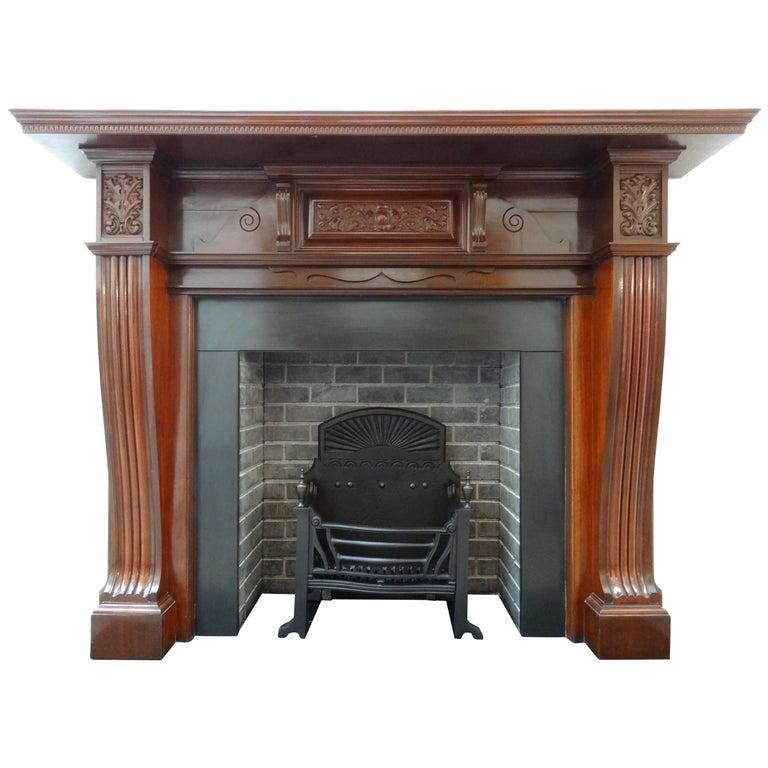 Antique Leather Sofa Northern Ireland: Irish Antique Hand-Carved Edwardian Mahogany Fireplace